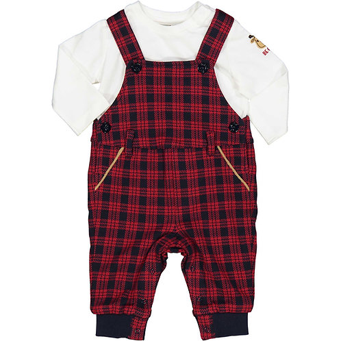 Birba - White Top & Red Check Dungarees