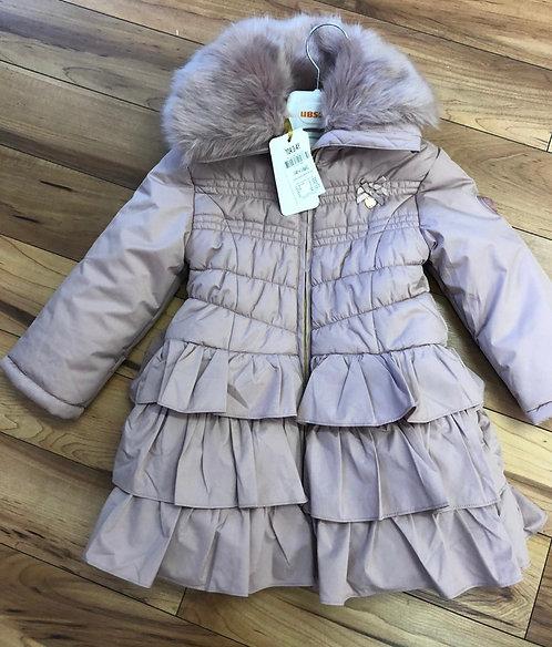 Le Chic - Dusty Pink Faux Fur Trim Coat