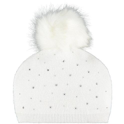 Little A - Angel White Sparkle Pom Pom Hat
