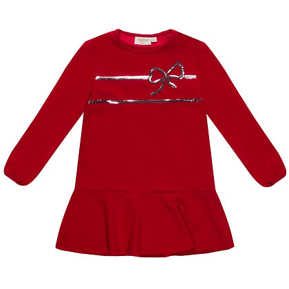 UBS2 - Red Long-Sleeve Bow Dress.