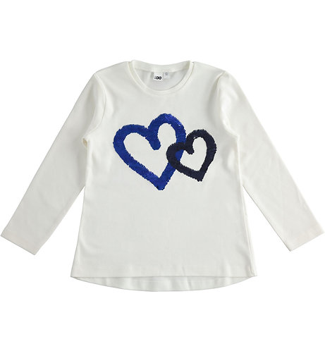 iDO - T-shirt with hearts and sequins