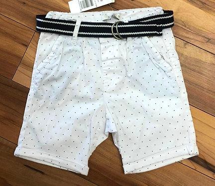 Birba - White & Navy Dot Shorts