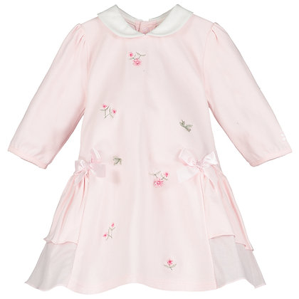 Tatiana - SJ flower emb Dress, side frills, bows & Tights