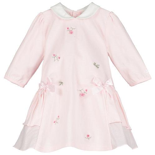 Tatiana - SJ flower emb Dress, side frills, bows & Tights