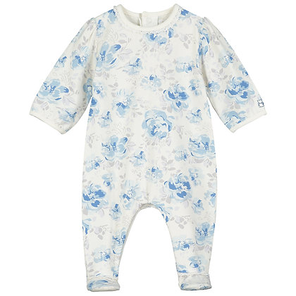 Tallulah - Jersey AIO with large floral print & lace trim blue and grey