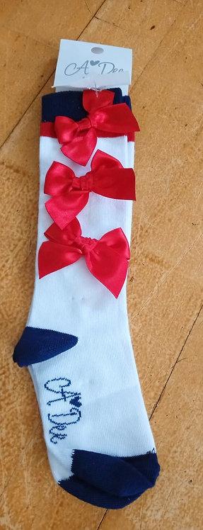 Dee - Ashley Stripe Red Sock