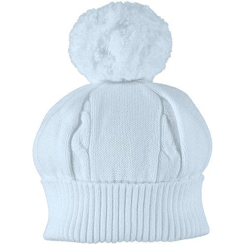 Fuzzy - Blue true knit cable bobble Hat