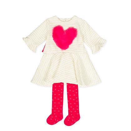 Agatha Ruiz de la Prada Nieve - White & Pink Heart Dress & Tights