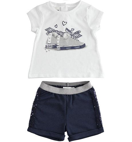 iDO - White & Navy Short  Set