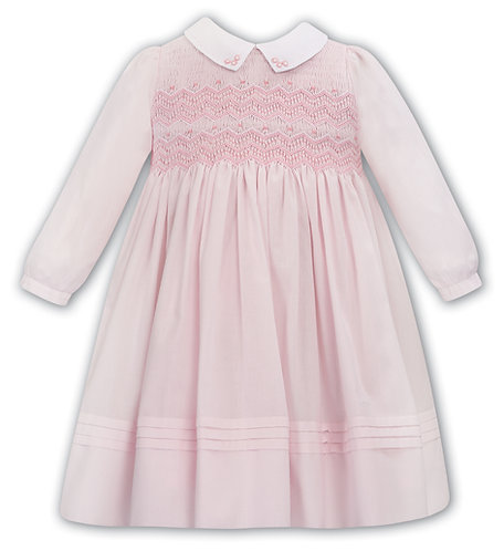 Dani Sarah Louise - Pink and White Hand-Smocked Dress