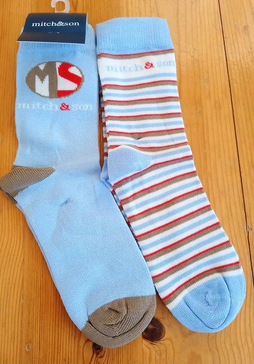 Mitch & Son - Albert Blue Socks Twin Pack