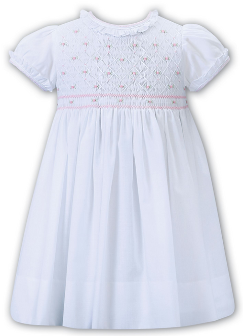 Sarah Louise - White and Pink Hand Smocked Dress