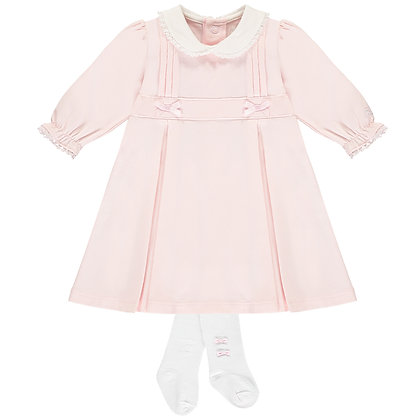 Thea - Smart pleated SJ Dress with bows, collar & Tights