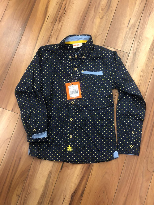 UBS2 - Navy with Mustard Print Shirt