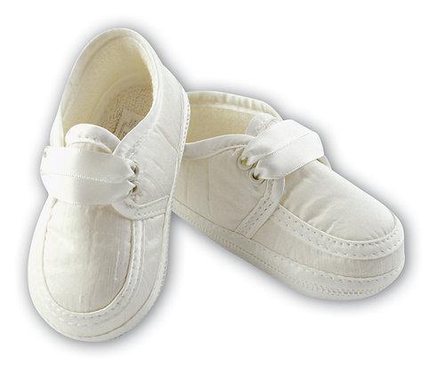 Sarah Louise - White Satin Ribbon Laces Shoes