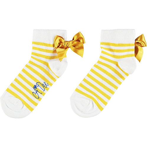 A Dee - Libby Yellow Stripe Bow Ankle Sock