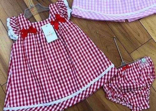 Babybol - Red Check Dress & Panties