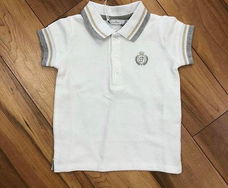 Patachou White Polo Shirt with Grey
