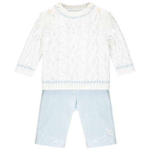 Trent - 2pc white cable knit Jumper & blue Trouser