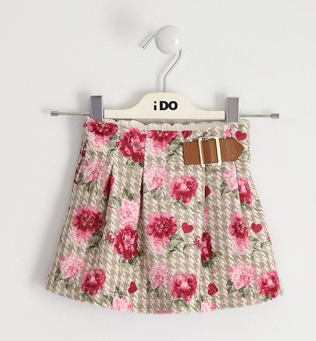 iDO - Kilt model skirt with folds in velvet effect fabric