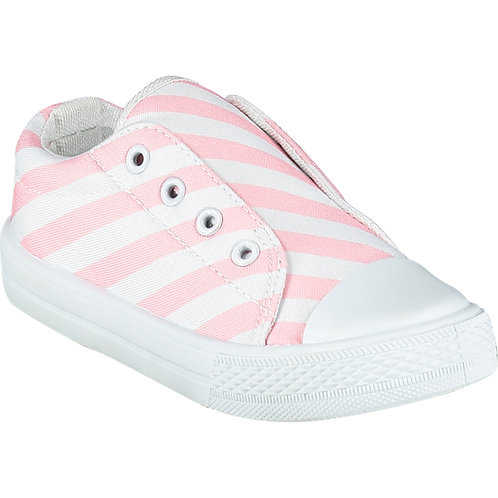 A Dee - Laceless Pale Pink Stripe Printed Canvas Trainer