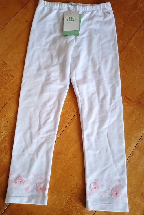 Itty London White Leggings with Pink Flowers