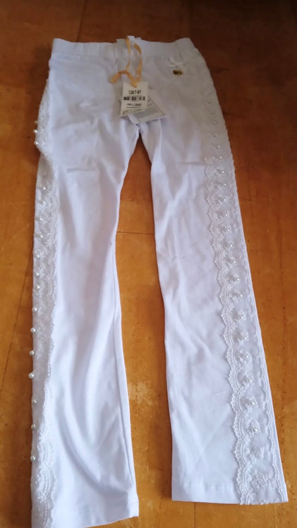 Le Chic White Leggings with lace and pearl detail