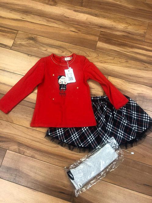 Mini Bol - Red Top and Skirt Set