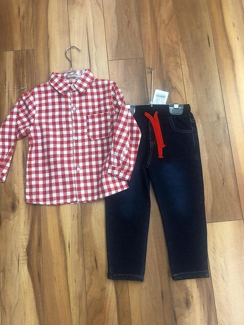 Mini Bol -  Red Check Shirt & Denim Jeans