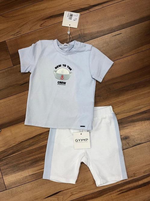 GYMP - Pale Blue T-Shirt & White Shorts