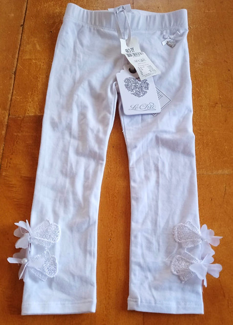 Le Chic White Leggings with Flower Detail