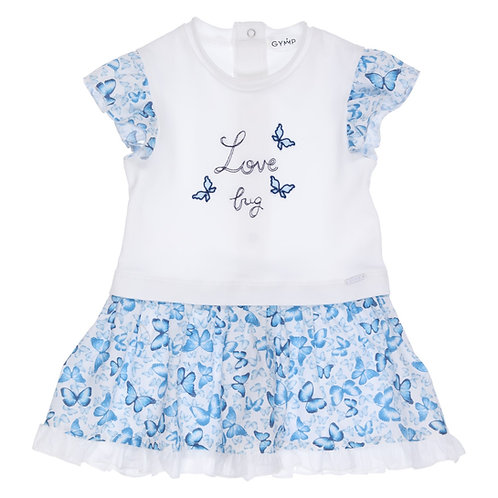 GYMP - White & Blue Combi Dress Love Bug