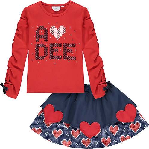 A Dee - Raelyn Knitted Heart Skirt Set