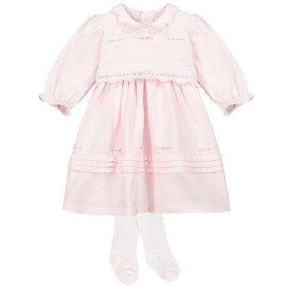 Tilly - SJ Dress, flower & scalloped edge emb & Tights