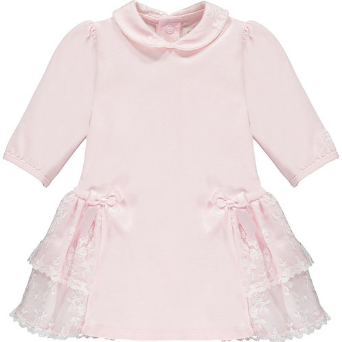 Amira - Dress with lace side frills & bows with Tights