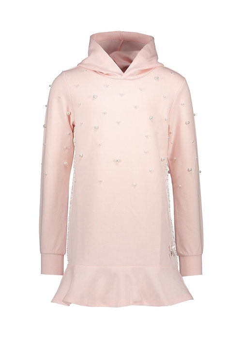 Le Chic - Pink Dress Hoodie Peplum Pearls