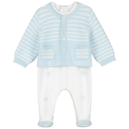 Todd - 2pc I'lock AIO with emb bears & striped Cardigan