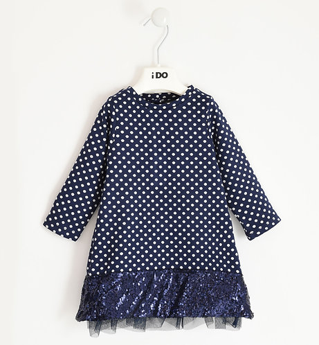 iDO - Navy Jacquard dress with tulle flounce and sequins