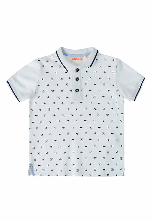 UBS2 - White Polo Shirt Navy Print