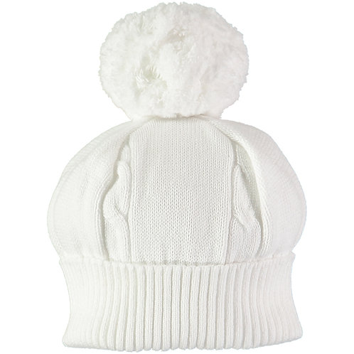 Fuzzy - White true knit cable bobble Hat