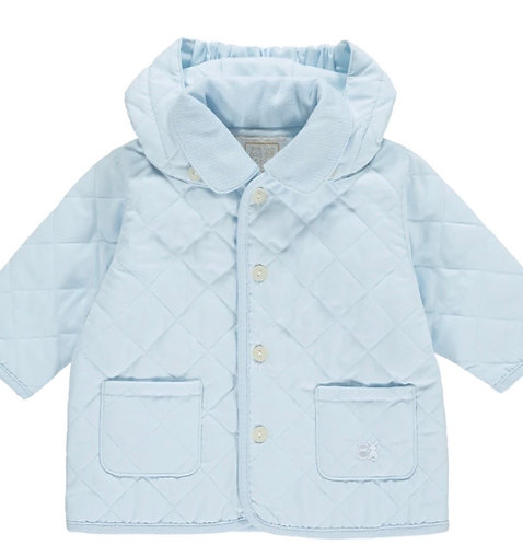 Curtis - Microfibre Quilted Jacket with Hood, Pale Blue