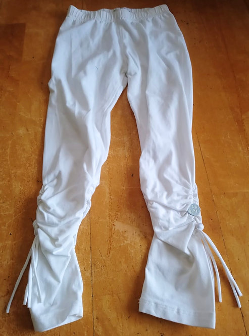 Carbone White Leggings with Ruffle