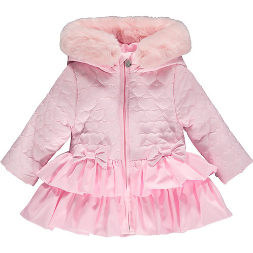Little A - Aubrey Pink Heart Emb Faux Fur Trim Jacket