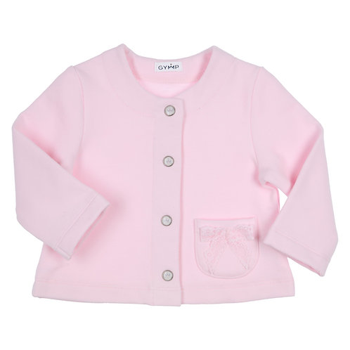 GYMP -  Light Pink Cardigan with Pocket & Bow
