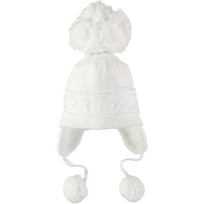 Griffin - White true knit cosy ear bobble Hat