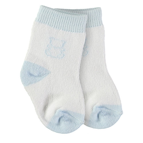 Alpine - 1 x twin pack boys Socks in pale blue & white