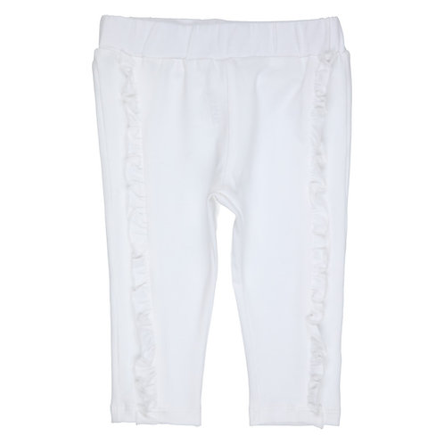 GYMP -  White Pants with ruffle on the front