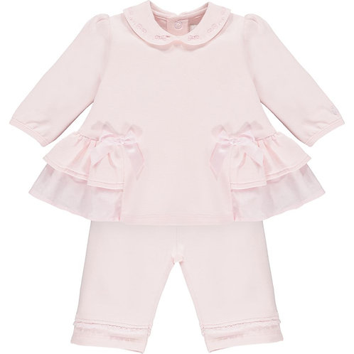 Audrey- 2pc BFT Top with side frills & bows, & Trouser
