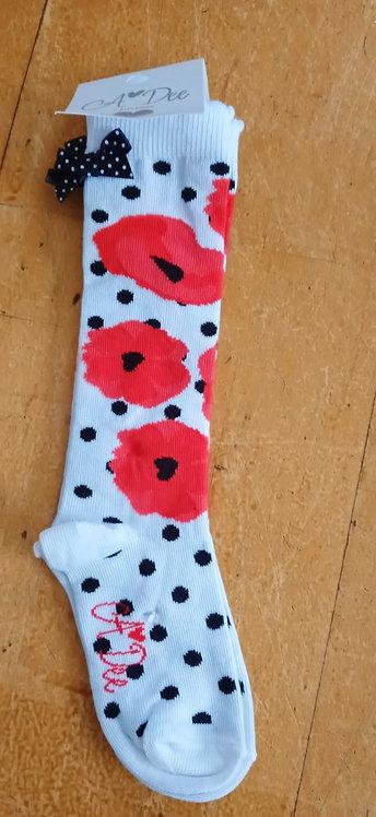 A Dee - Allyson Poppy Knee High Sock