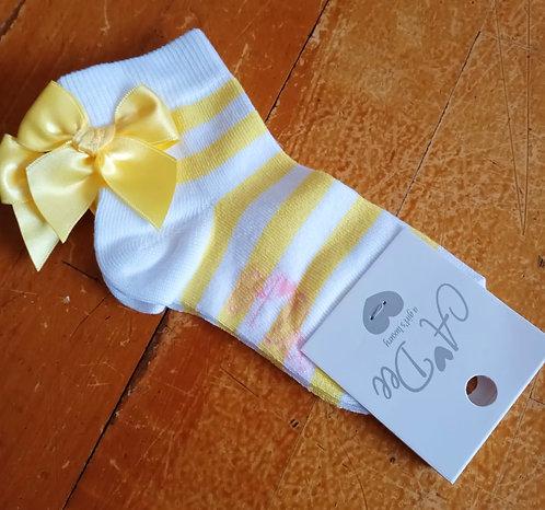 A Dee -Bae Stripe Lemon Ankle Sock